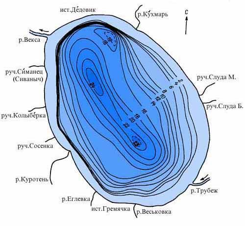 Карта глубин озера Плещеево