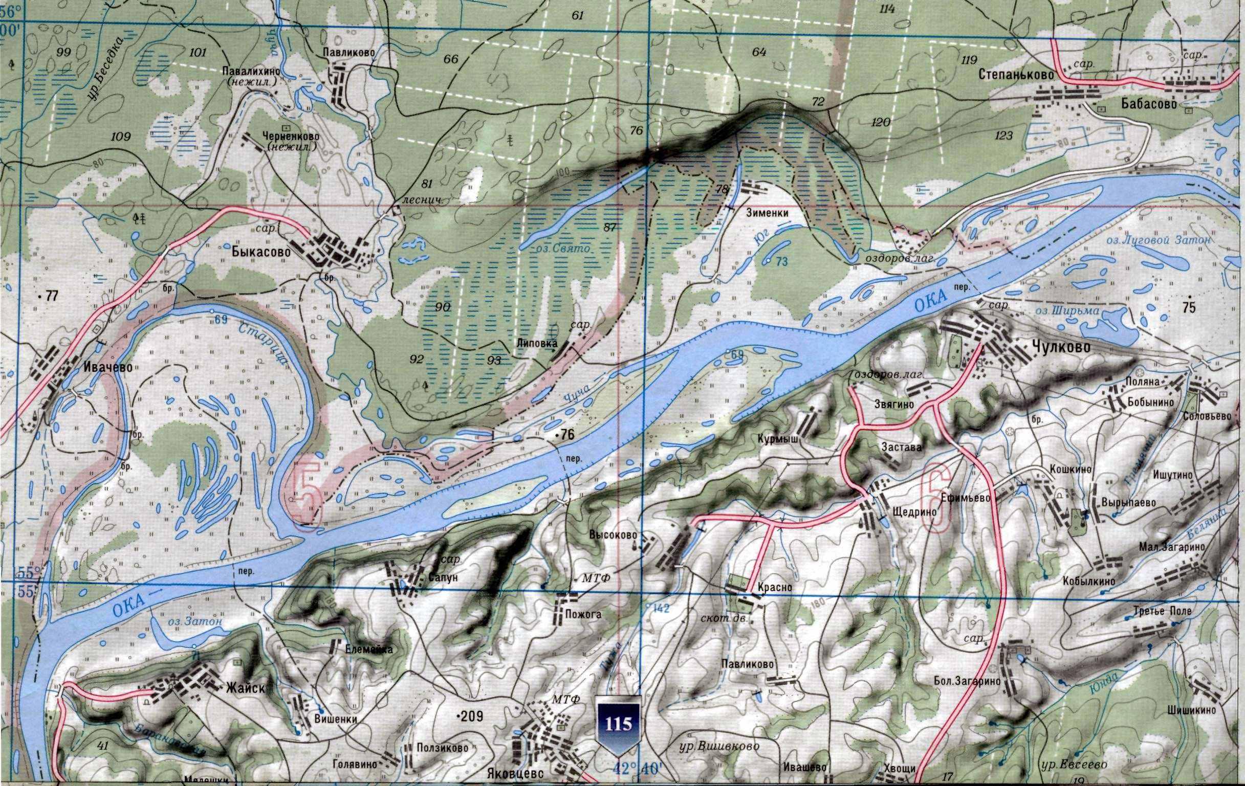 Карта реки ока от дмитриевых гор до